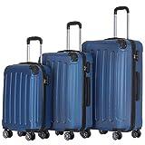 BEIBYE Hartschalen-Koffer Trolley Rollkoffer Reisekoffer Handgepäck 4 Rollen (M-L-XL-Set) (Blau, Set)