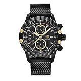 SWJM Sport Chronograph Uhren Männer Mesh Band Wasserdicht Luxusuhr Quarz Armbanduhren Saat Relogio Masculino,F