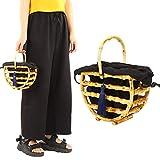 Bambusrohr Tasche Handgefertigte Bambus Tasche Handtasche Hohle Tasche Strandtasche Geldbörse mit Quaste Und Stoff Tasche für Frauen Abendparty Outdoor-Aktivitäten Einkaufen