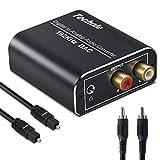 DA Wandler Techole Aluminium 192KHz DAC Digital SPDIF Toslink zu Analog Stereo Audio Konverter mit Optischem Kabel, R/L 3.5mm Jack, Audio Converter für PS3, PS4, Xbox, HD TV, Apple TV