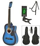 Akustik Western Gitarre Westerngitarre in Blau Sunburst mit Gitarrentasche, LCD Stimmgerät, Gitarrenständer und Zubehör