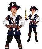 Magicoo Kapitän Piratenkostüm Kinder Jungen Blau/Schwarz/Gold Gr. 104 bis 146 - Fasching Pirat Kostüm Kind (128/134)