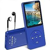 AGPTEK MP3 Player, 8GB verlustfrei MP3 mit 1,8 Zoll Bildschirm, 70 Stunden Wiedergabezeit tragbare Musik Player mit Kopfhörer, mit FM Radio, Bilder, Aufnahmen, E Buch, bis 64GB TF Karte, Blau