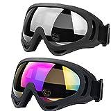 JTENG Motorrad Goggle Motocross Skibrille Sportbrille Wind Staubschutz Fliegerbrille Snowboardbrille Schneebrille Skibrille Wintersport Brille Dirtbike Off-Road