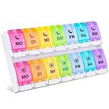 Tablettenbox 7 Tage BUG HULL Medikamentenbox Morgens Abends 14 Fächer Leicht Zu Öffnen Deutsch (14 Fächer)