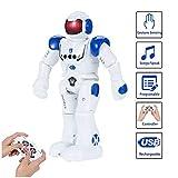 SUNNOW Intelligente Roboter - Ferngesteuerter Roboter Spielzeug für Kinder RC Control Geste Steuerung Roboter Programmierung (Blau)