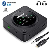 Bluetooth 5.0 Audio Adapter, BOIROS Transmitter Empfänger 2 in 1, LED Anzeige, für TV Laptop Stereoanlage Kopfhörer Lautsprecher,Optisches TOSLINK/RCA/AUX Kabel, aptX HD & aptX LL