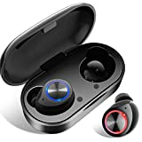 Bluetooth Kopfhörer In Ear, Wireless Noise Cancelling Earbuds Bluetooth 5.0 True Wireless Deep Bass HD-Stereo Headset Ohrhörer Kabellos Sport Touch-Control Earphone Automatische Kopplung (Schwarz)