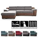 Cavadore Ecksofa Xenit mit Longchair links, L-Form Couch mit Kopfteilverstellung und Bettfunktion, 271 x 81-94 x 168, Materialmix hellgrau - braun