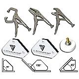 STAHLWERK Schweißzubehör Mini Werkzeug Magnet-Schweißwinkel + Gripzangen + Magnet-Masseklemme, für Schweißen, Modellbau, KFZ, 6 teilig, weiß