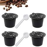 4 x Nachfüllbare Wiederverwendbare Kaffeekapseln für Nespresso-Maschinen Kaffeekapsel mit Netzfilter und 2 Plastiklöffeln - Schwarz
