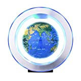 Festnight 6-Zoll-Magnetschwebebahn Schwimmender Globus Anti-Schwerkraft-Rotierender Erdball Schwebender Weltkarten-Globus mit farbenfroher LED-Licht- und O-Form-Basis für Studenten Pädagogisches