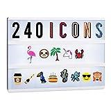 Relaxdays Lightbox Ergänzungsset, 240 verrückte Zeichen, Erweiterung mit Buchstaben und Zahlen, Leuchtkasten Icons, bunt