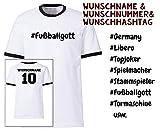 Deutschland T-Shirt Fußballmannschaft Herren Fanshirt für Fußballer und Fußballfans mit Namen, Rückennummer, Hashtag