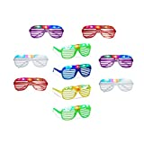 Relaxdays 10 x Partybrille mit LED, Atzenbrille für Karneval und Fasching, Gitterbrille für Kinder, Blinkend mit Farbwechsel