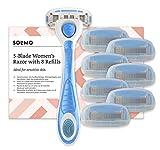 Amazon-Marke: Solimo Damenrasierer mit 5-fach-Klinge + 8 Ersatzklingen