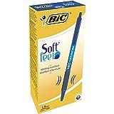 BIC Druckkugelschreiber Soft Feel Clic Grip – 12 Kugelschreiber in Blau – Strichstärke 0,4 mm – Dokumentenecht