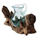 Balibarang-Shop Geschenk Deko Gamal Wurzelholz Kanne Glas Vase Wurzel Holz Teakholz Glas Krug M