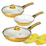 Genius Cerafit Gold Deluxe Keramikpfannen-Set 7tlg - Pfannen-Set 20 24 28 cm mit abnehmbarem Griff, Glasdeckel & Vlies - Induktionspfannen für alle Herdarten