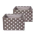 BrilliantJo 2er Set Aufbewahrungsbox aus Stoff, groß Box Faltbarer Ordnungsbox, dickwandiger Aufbewahrung Kisten mit Handgriff für Kleidung, Spielzeug (Waschbar, 40 * 30 * 25cm, Graubraun)
