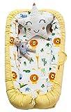 Hayisugar Babynest Nestchen Kuschelnest Matratze im Bett Faltbett Doppelseitig Babybett Weiches und sicheres Baby-Reisebett Babynestchen, Gelb Tiere, 90cm x 55cm x15cm