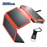 IEsafy 26800mAh Solar Powerbank mit 4 Solarpanel große Kapazität Solar Ladegerät, geeignet für Samsung, iPad, Huawei