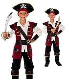 Magicoo Kapitän Piratenkostüm Kinder Jungen Rot-Gold, Fasching Pirat Kostüm Kind, Gr.- 110-116/ S