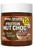 Body Attack Protein Nut Choc, Creamy Hazelnut, 250 g, Nuss-Nougat-Creme mit 21% Protein, Schokocreme ohne Zuckerzusatz. Palmölfrei und mit echten Haselnüssen