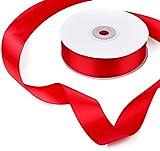 Adorfine 25m Satinband Breite 25mm Schleifenband Weihnachten Geschenkband Satin Dekoband Doppelsatinband für Weihnachten Hochzeit Deko Geschenkverpackung (Rot)