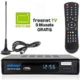Ankaro DVB-T2 Receiver DTR 50 inkl. 3 Monate GRATIS Freenet TV digitaler H.265 Empfänger in schwarz inklusive DVB-T Stab Antenne