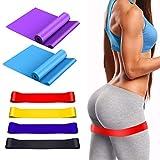 WOWGO Fitnessband, 6er Set Widerstandsbänder Lang Gymnastikband Loop Bänder mit Übungsanleitung, Tragebeutel für Muskelaufbau, Yoga, Gymnastik, Pilates,Crossfit