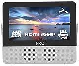 HKC P7H6 tragbarer Mini-Fernseher (7 Zoll HD TV) HDMI+USB, 60Hz, Mediaplayer, eingebauter Akku, 12V Kfz-Ladegerät, tragbare Antenne