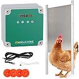 Agrarzone automatische Hühnertür Hühnerklappe mit Schieber 30 x 40 cm | Türöffner Hühnerstall mit Zeitschaltuhr & Lichtsensor | Netzbetrieb oder Batterie | Hühnerstall-Tür für sichere Hühnerhaltung