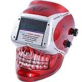 CCLIFE Automatik Schweißhelm Solar Schweißmaske Schweißschirm Optische Klasse: 1/1/1/2, Farbe:Weiß+Rot