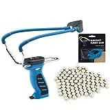 SET: Oramics® Profi-Steinschleuder Modell Big mit Kugelspender Blau + Ersatzgummi + 100 Stahlkugeln