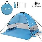 Glymnis Strandmuschel Pop Up Strandzelt UV Schutz 50+ Sonnenschutz mit winddichten Seilen und Sandsäcken für 2-5 Personen Blau