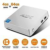 ACEPC T11 Mini PC, Windows 10 Pro 4GB RAM/ 64GB eMMC Intel Atom x5-Z8350 Prozessor Mini Computer mit VGA& HDMI Anschlüssen, Dual Band WLAN, BT 4.2, 4K HD, VESA Halterung, SATA für 2,5 Zoll HDD/SSD