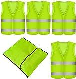 Prowiste 4 Stück Warnweste Neon Gelb - Waschbar - 360 Grad Reflektierende Sicherheitsweste KFZ EN471