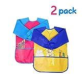 XCOZU 2 Stück Malschürze Kinder,Malkittel Bastelschürze 2-7 Jahre,Wasserdichte Kinder Schürze für Malerei mit Langarm Drei Taschen (Gelb & Rosa)