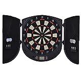 HOMCOM Elektronische Dartscheibe Dartboard Dart-Set mit 6 Darts Schwarz+Orange 26 Spiele und 185 Trefferoptionen für 8 Spieler 46,5 x 4,4 x 50,5 cm