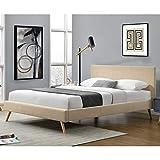 Polsterbett aus Leinen Bettgestell mit Lattenrost 160x200 cm Bett inkl. Lattenrahmen Doppelbett Ehebett Creme