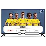 CHiQ L32H7N 80cm Fernseher 32 Zoll Smart TV HD LED Fernseher, Triple Tuner, HDMI, Prime Video, Netflix, Youtube, Grau