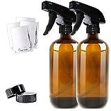 THETIS Homes Sprühflasche Glas 500ml, 2X Leere Braunglasflasche aus Braunglas für Pflanzen, Friseur, Ätherisches Öl mit 2-Stufen BPA-frei Sprühkopf - 2er-Pack neu