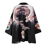 Siehin Herren Drache-Druck Frühling-Sommer Kimono Cardigan Japan Happi Kimono Jacke Yukata Coat Ukiyoe Baggy Tops (L (Tag 2XL))