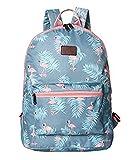 Boomly Damen Mädchen Flamingos Rucksack Schüler Schulranzen Mode tragbar Schultertasche Outdoor Reise Handtasche (Blau)