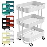 casa pura Design Allzweckwagen mit 3 Etagen - Rollwagen bis 24 kg belastbar - Servierwagen mit 2 Bremsen - Beistellwagen für Küche, Bad, Büro - Korbwagen auf Rollen in 6 Farben (Weiß)