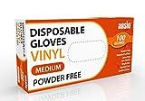 Vinyl Handschuhe, Einweghandschuhe 100 Stück 1 Box, Einmalhandschuhe M, Untersuchungshandschuhe, Einweghandschuhe, puderfrei, ohne Latex, unsteril, latexfrei, Einmalhandschuhe, Mittel
