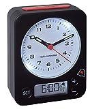 TFA Dostmann Combo Funkwecker, Uhrzeit Analog und Wecker Digital, Funkuhr mit Hoher Präzision, leise, rundumlaufende Beleuchtung, schwarz