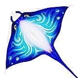 Mint's Colorful Life Devil Fish Drachen für Kinder und Erwachsene, Delta-Drachen einleiner groß, Flugdrachen (Blau)
