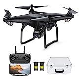 Potensic FPV Drohne mit 1080P HD Kamera, RC Quadrocopter, Dual GPS und Follow me Funktion, Live Übertragung mit 120° Weitwinkel, Hochhaltung, Kopflos Modus, 2 Akkus und Koffer D58